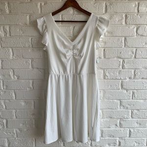 Lily White OFF WHITE Dress Tie Back Size Large NWT